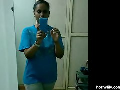 Desi College Girl Changing Her Sports Wear After Gym Homemade